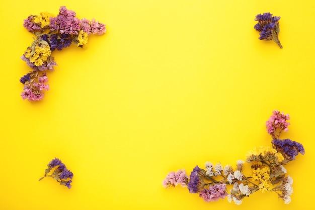 花の構成。パステルイエローの背景にカスミソウの花。フラットレイ、上面図、コピースペース。春