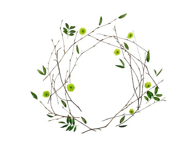 꽃 조성. 가지로 만든 패턴과 평평한 평신도, 평면도, 프레임 leafs.