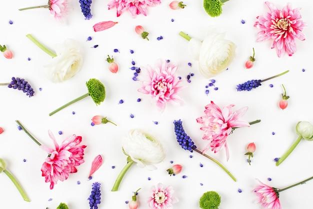 Композиция цветов. узор из лютиков, хризантем и других цветов на белом фоне. плоская планировка, вид сверху.