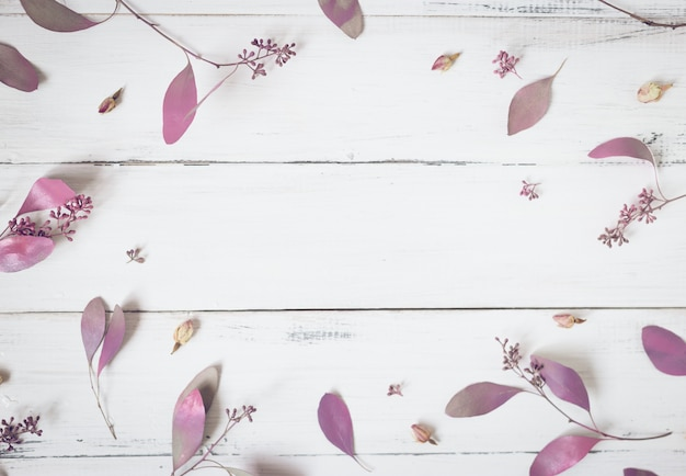 Flowers composition. pattern made of pink flowers and eucalyptus branches on white background