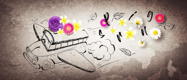 花の組成。フォトフレーム、春の花