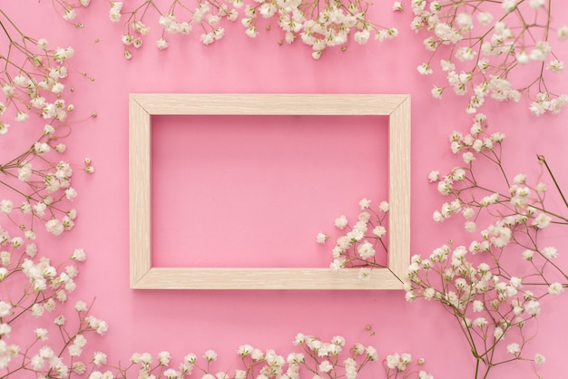 Flowers composition romantic. white gypsophila flowers, photo frame