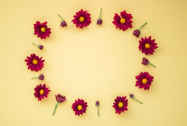 Flowers composition. wreath made of various red flowers on yellow background