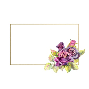 Flowers of dark roses green leaves composition in a geometric golden frame the concept of the wedding flowers watercolor rectangular frame