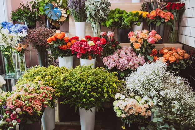 Flowers in a floral shop, different types
