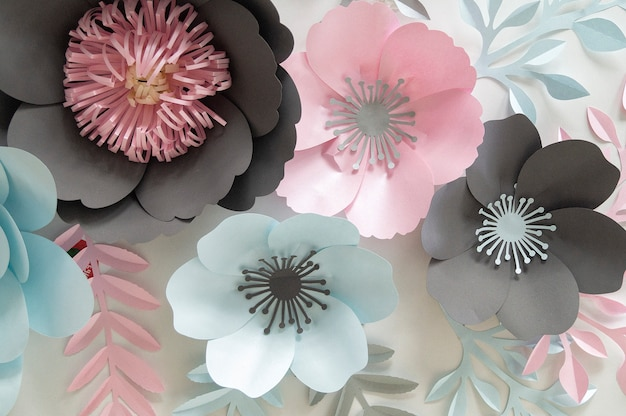 Flowers from paper multi-colored in pastel colors