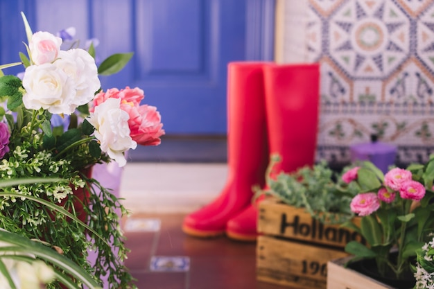 Flowers and gumboots