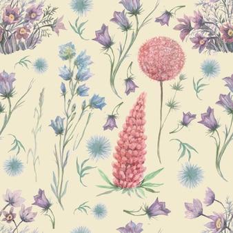 꽃 허브 숲 수채화 그림 패턴 원활한
