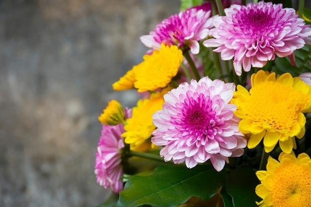 Цветы в вазе ставят на цементную стену. фоновая текстура
