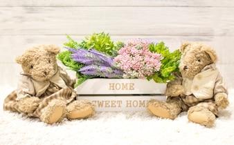 木箱やかわいいクマの花。白い箱の花、豪華なヴィンテージの熊。ローマ