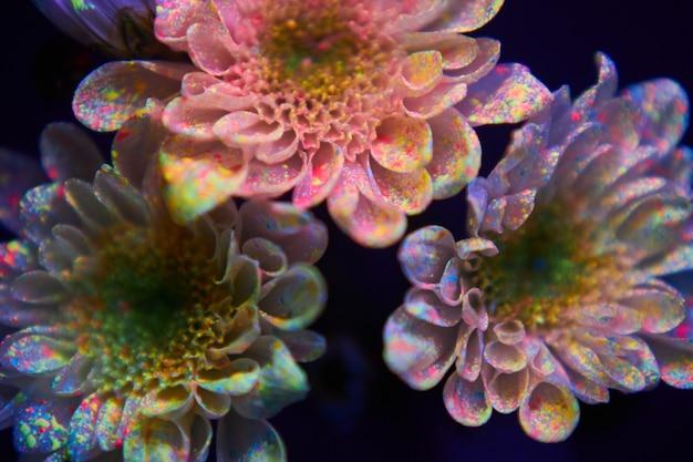 絵の具の中の花が紫外線で光ります。自然美容化粧品