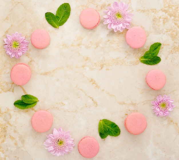 Flowers, mint and french macarons