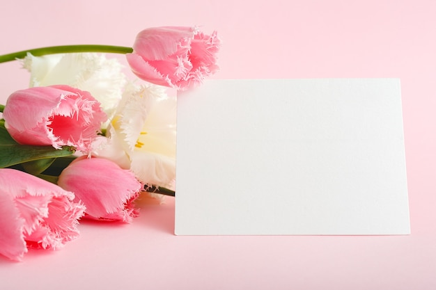 Цветы макет поздравления. карточка поздравления в букете розовых тюльпанов на розовом фоне.