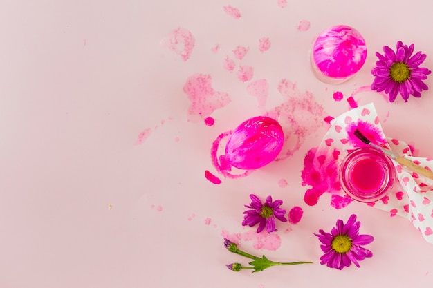 Flowers near bright eggs