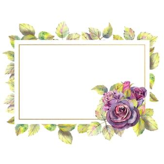 Композиция из цветов темных роз и зеленых листьев в геометрической золотой рамке акварельная прямоугольная рамка