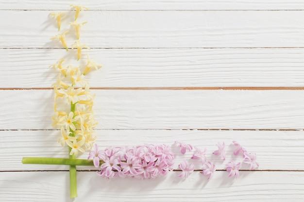 白い木の表面にヒヤシンスの花