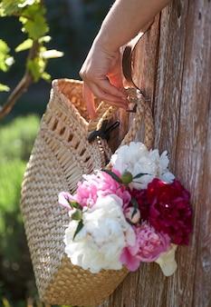 Цветы розовых красных и белых пионов в плетеной корзине на деревянном столе на деревянном фоне. руки женщины держат корзину с пионами.