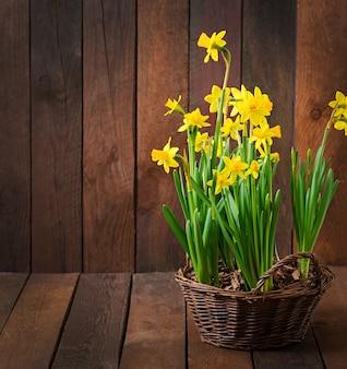 暗い木製のテーブルの花