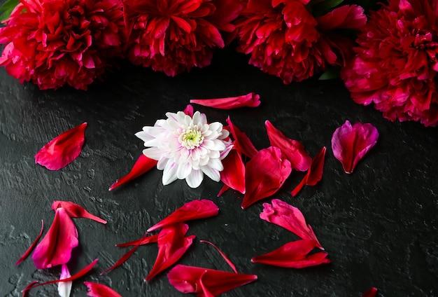 黒の背景に花。牡丹の花束。花びらが付いた完璧なフラットレイ。幸せな母親の休日のはがき。国際女性の日の挨拶。広告の誕生日のアイデア。招待。