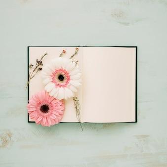 Цветы на страницах ноутбука