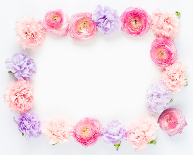 Flowers in pink colours creating rectangular frame