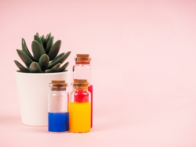 Flowers and plant extracts or perfume in small bottles