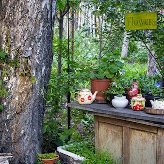 Flowers in pots in the garden in summer