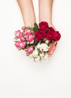 Flowers roses in hands of girl, top view, little white pink red roses white background