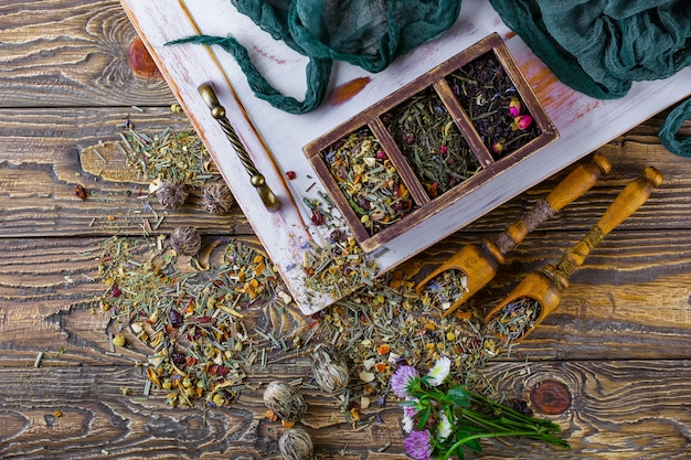 Flowers and spices for tea