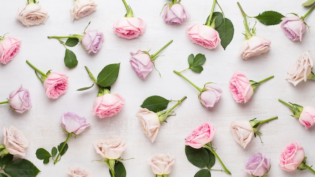 花のバレンタインの日の構成。グレーにピンクのバラで作られたフレーム。フラット横たわっていた、トップビュー、コピースペース。