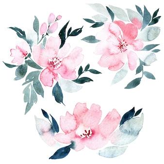 花の水彩イラスト、白で隔離