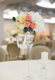 Flowers at wedding in design of room