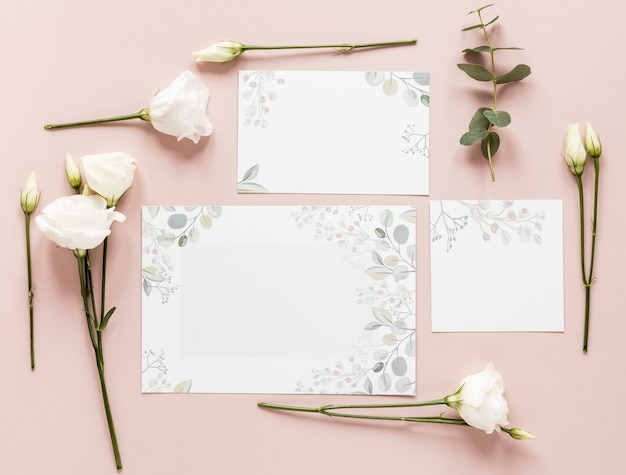 Flowers and wedding invitation