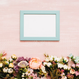 Flowers with blue frame