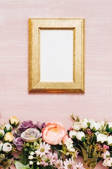 Flowers with old frame with copy space