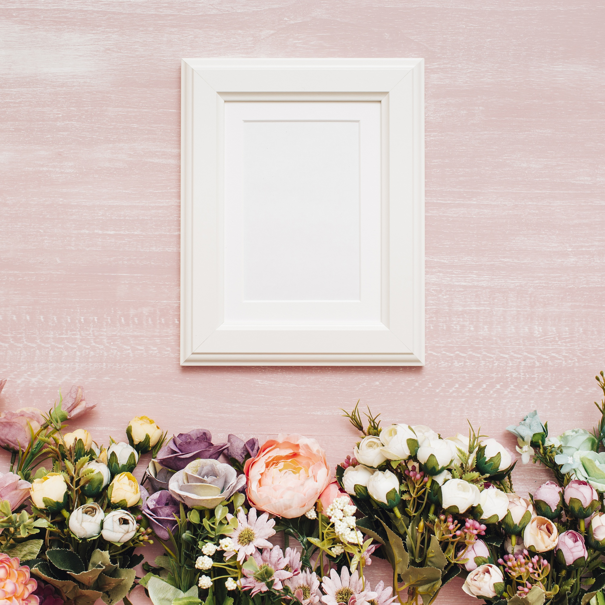 Flowers with white frame