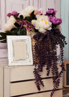 Flowers on wooden box