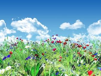 Flowery landscape with a blue sky