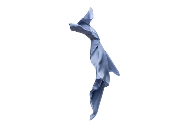 Flowing blue silk scarf isolated on white background.