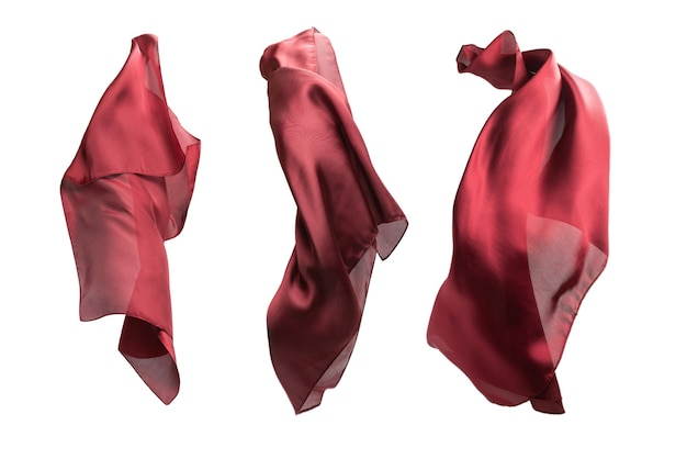 Flowing red silk scarf isolated on white background.