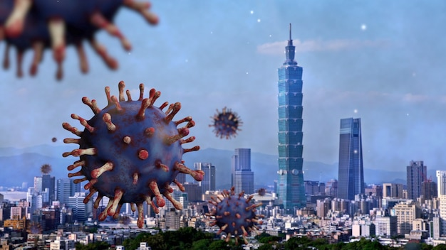 Flu coronavirus floating on corporate landmark skyline in taipei modern city