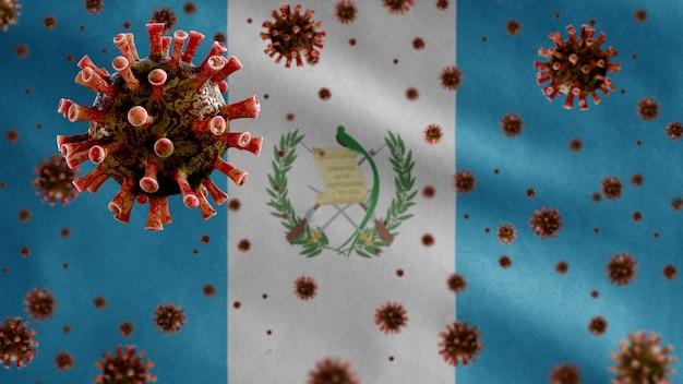 Flu coronavirus floating over guatemalan flag, a pathogen that attacks the respiratory tract.