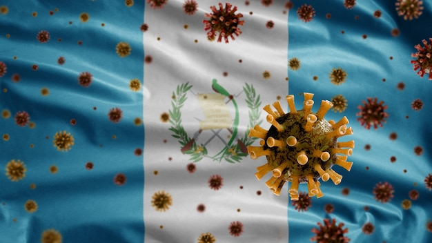 Flu coronavirus floating over guatemalan flag, pathogen that attacks the respiratory tract.