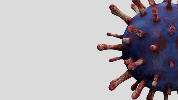 Коронавирус гриппа, плавающий в жидком свете под микроскопом