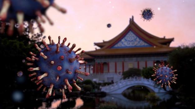 Flu coronavirus floating on landmark national theater monument of memorial hall