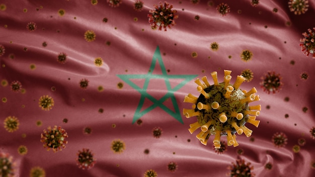 Flu coronavirus floating over moroccan flag, pathogen that attacks the respiratory tract
