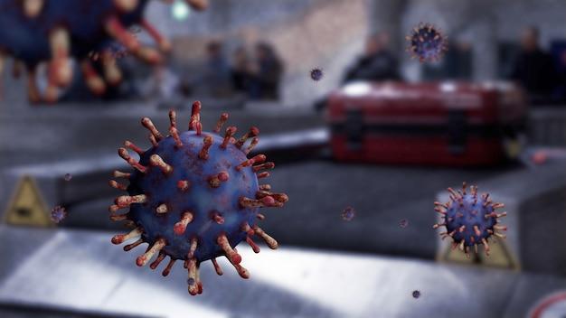 Коронавирус гриппа парит в воздухе с чемоданом на багаже