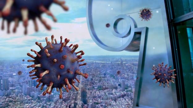 台北近代都市の企業のランドマークスカイラインに浮かぶインフルエンザコロナウイルス