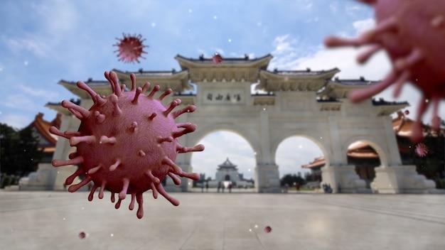 中正紀念堂のランドマーク入口ゲート記念碑に浮かぶインフルエンザコロナウイルス