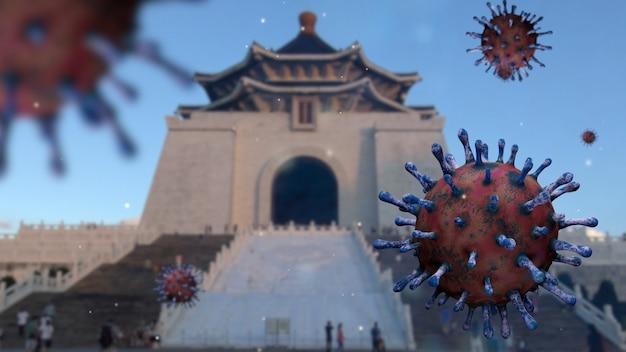 中正紀念堂のランドマークゲート記念碑に浮かぶインフルエンザコロナウイルス